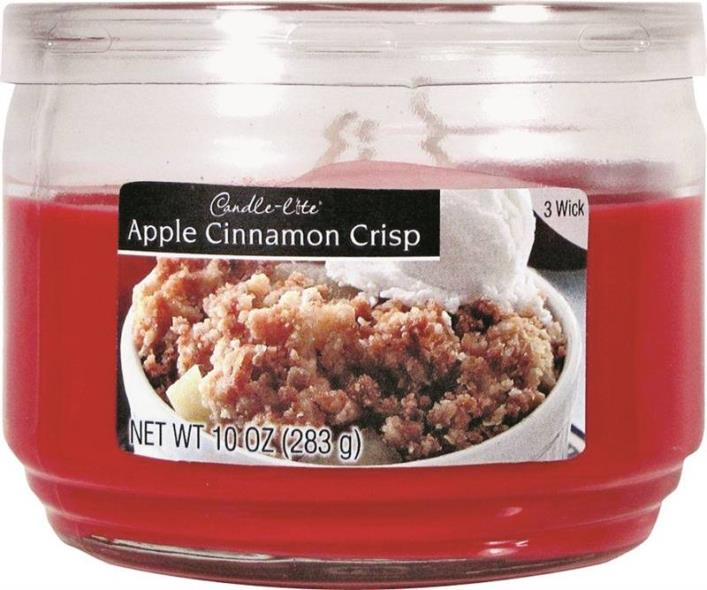 Candle,-Lite 1879021 Scented Candle, 10 oz Capacity, 4.18 in Dia X 3.19 in H, Apple Cinnamon Crisp
