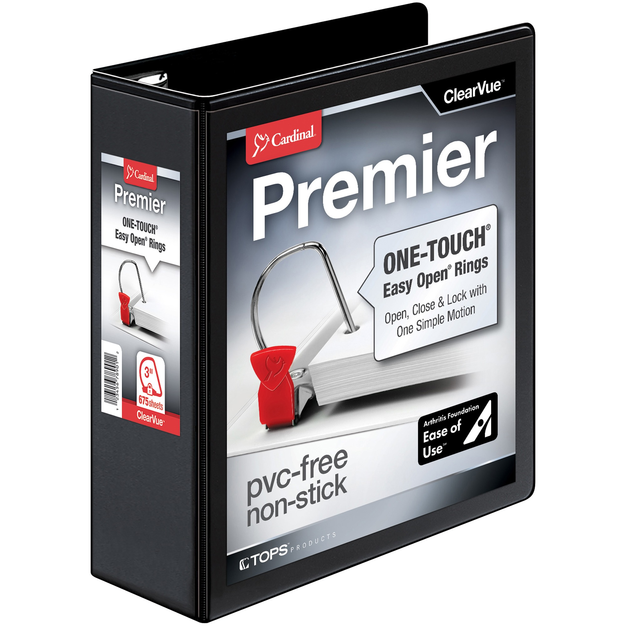 "Easy-Open ClearVue Locking Slant-D Binder, 3"" Cap, 11 x 8 1/2, Black"