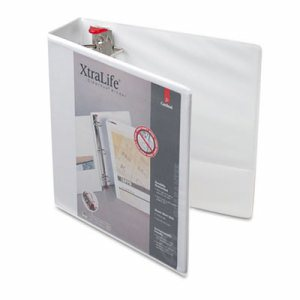 "XtraLife ClearVue Non-Stick Locking Slant-D Binder, 1"" Cap, 11 x 8 1/2, White"