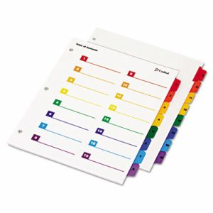 OneStep Printable Table of Contents/Dividers, 16-Tab, 11 x 8 1/2, Multicolor