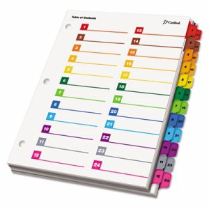 OneStep Printable Table of Contents/Dividers, 52-Tab, 11 x 8 1/2, Multicolor