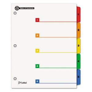 100% Recycled OneStep Index System, Multicolor 5-Tab, 11 x 8-1/2, 1 Set