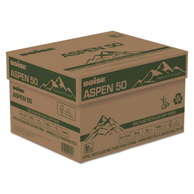 ASPEN 50 Multi-Use Recycled Paper, 20 lb, 8 1/2 x 14, White, 500/Ream, 10 Reams