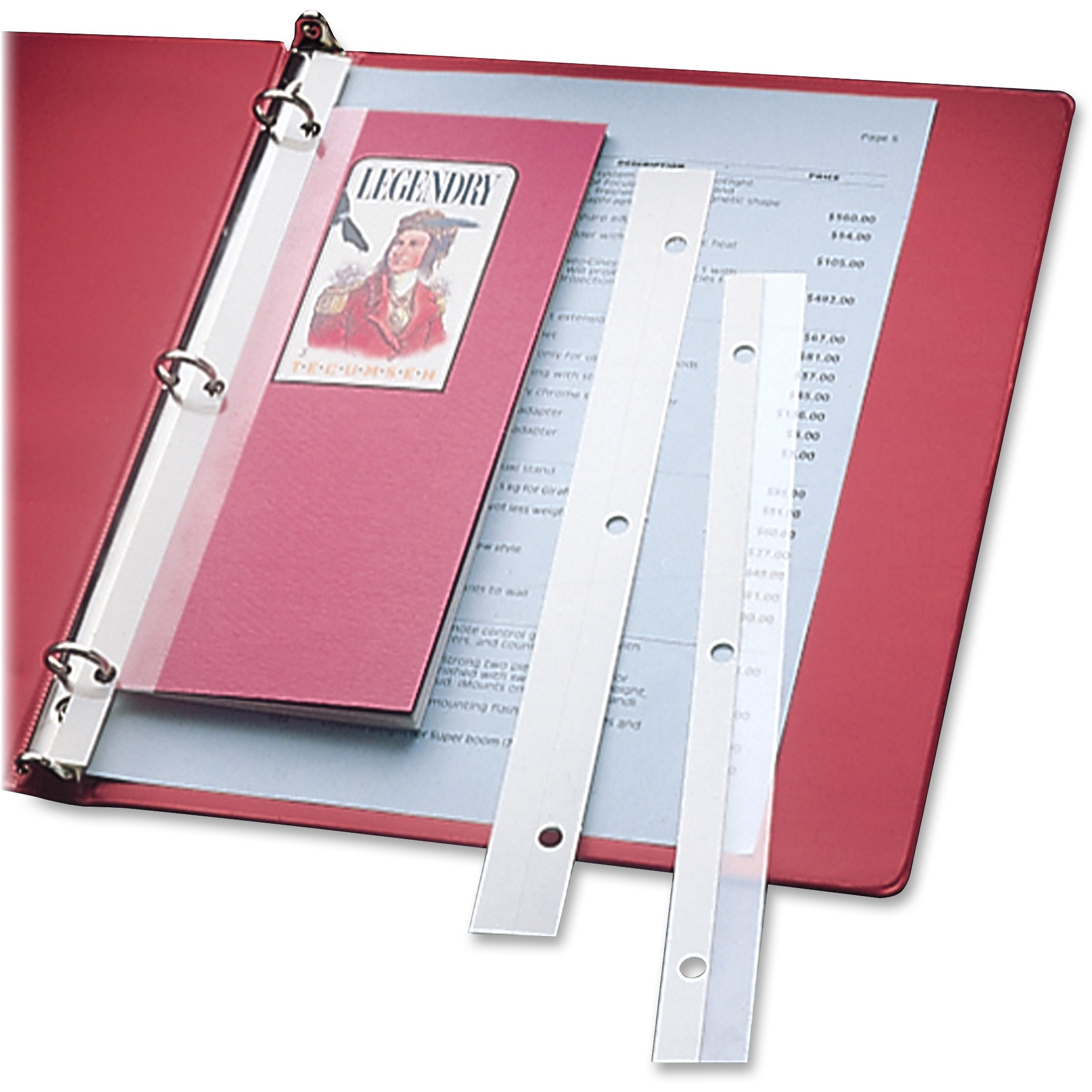 Self-Adhesive Attaching Strips, 3-Hole Punched, 11 x 1, 200/BX