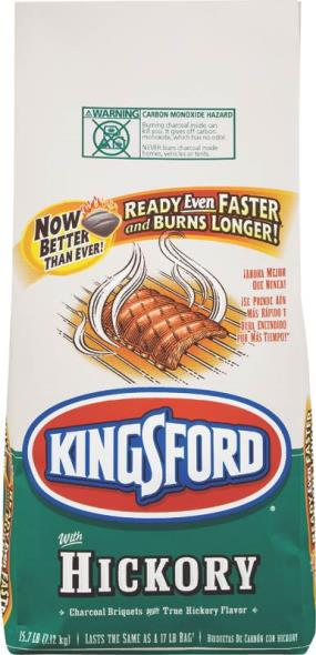 Kingsford 31241 Charcoal Hickory, 15.7 lb Bag, Black/Brown, Solid