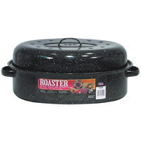 Granite Ware F0509-2 Oval Roaster With Cover, 15 lb Capacity, 18 in Dia x 12-1/2 in L x 7-1/2 in W, Carbon Steel