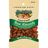 Snak Club Supreme Raw Almond, 2.75 oz Reclosable Bag