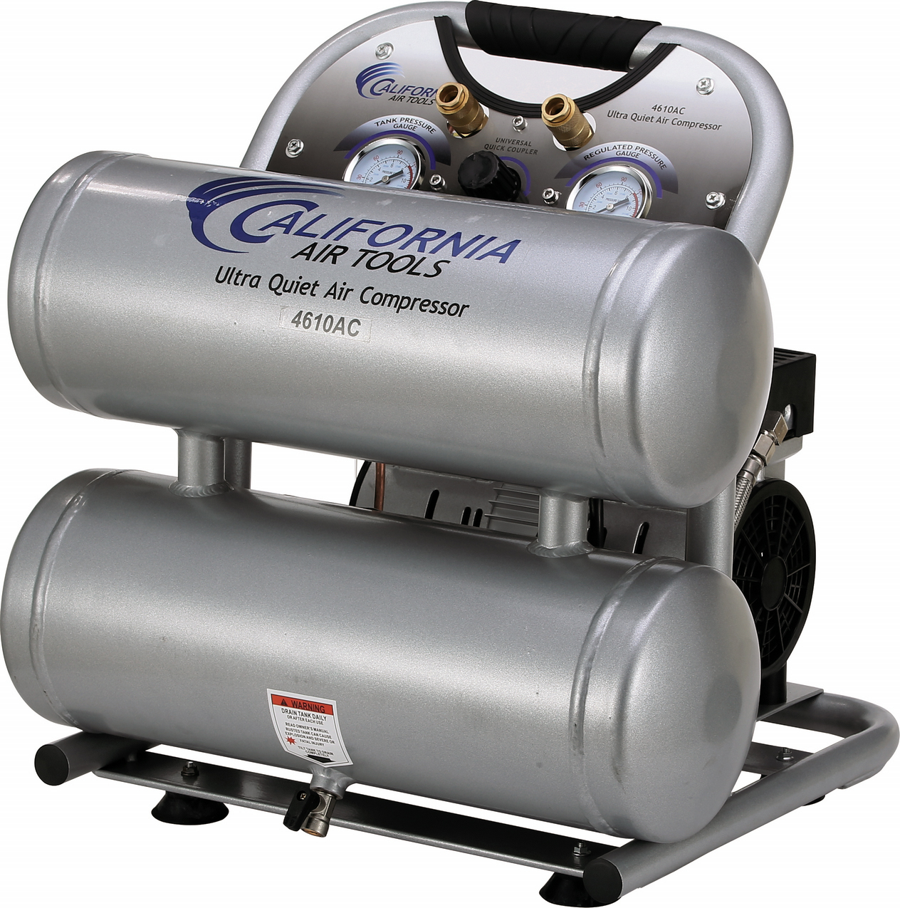 California Air Tools 4610AC Ultra Quiet & Oil-Free 1.0 Hp, 4.6 Gal. Aluminum Twin Tank Electric Portable Air Compressor