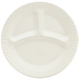 "Concorde Foam Plate, 3-Comp, 9"" dia, White, 125/Pack, 4 Packs/Carton"