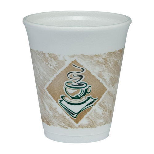 Caf� G Foam Hot/Cold Cups, 8oz, White w/Brown & Green, 1000/Carton
