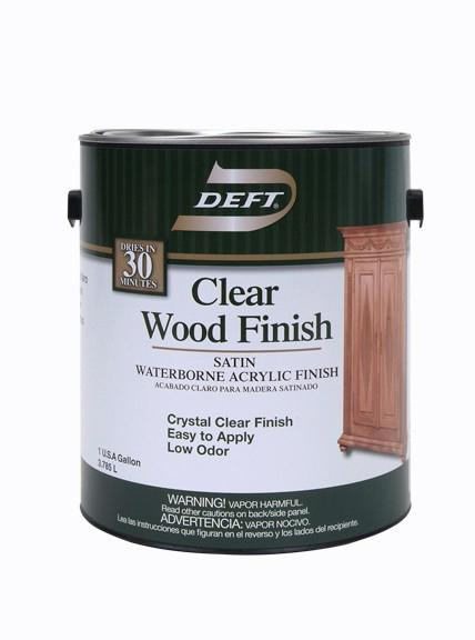 Only Deft Clear Wood Finish Interior Water Based Acrylic Satin 1 Gallon 037125109011