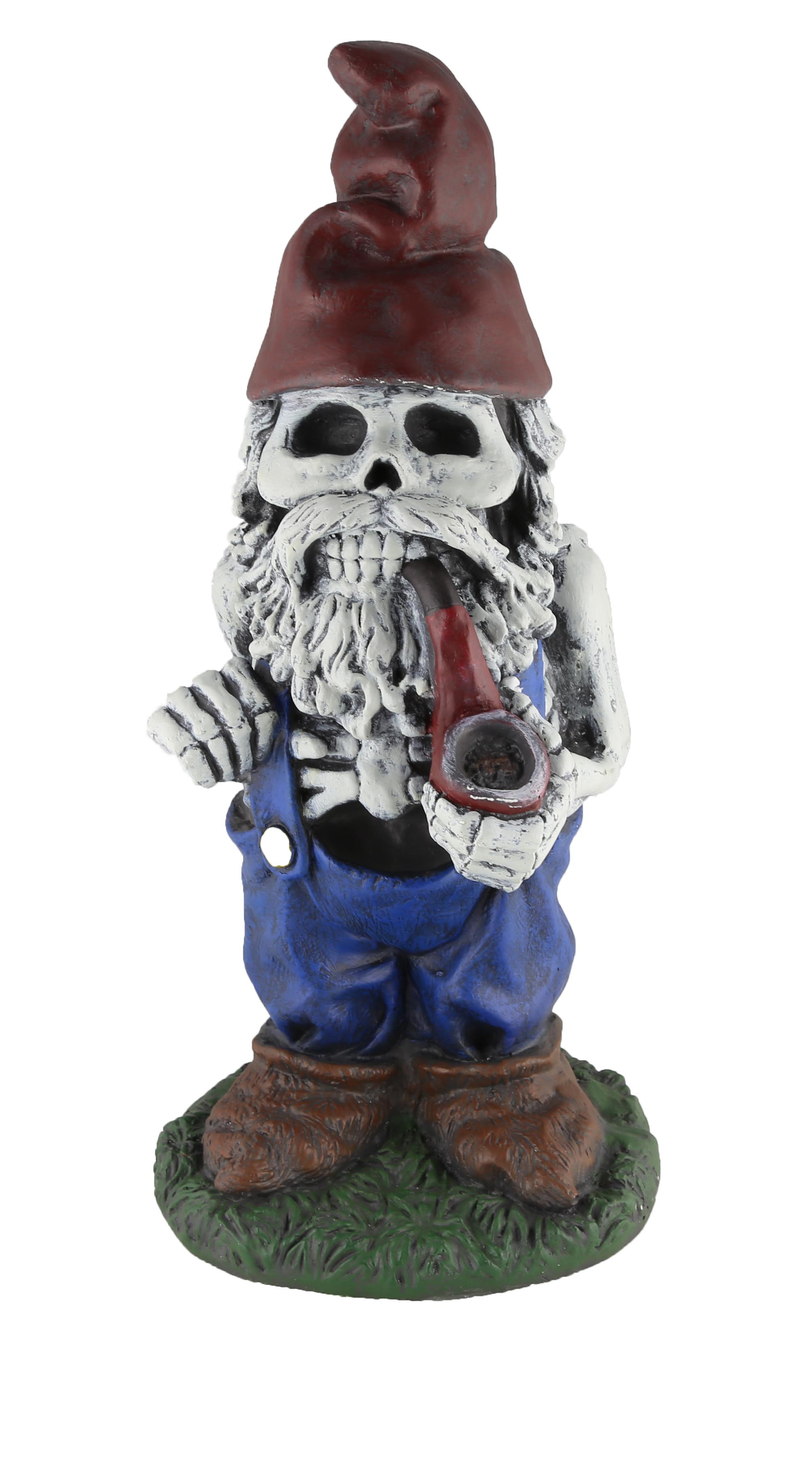 "Design House 19"" Skeleton Man Gnome with Pipe Lawn Decoration"