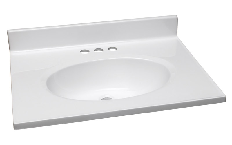Single Bowl Marble Vanity Top, 25-Inch by 19-Inch, Solid White