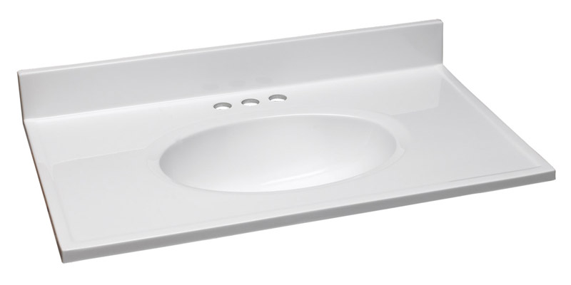 Single Bowl Marble Vanity Top, 31-Inch by 19-Inch, Solid White