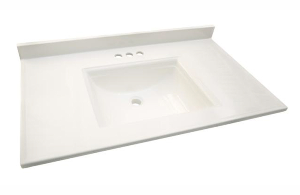 Design House 557652 Camilla Vanity Top with 4-Inch Backsplash, 25-inches by 22-inches, Solid White