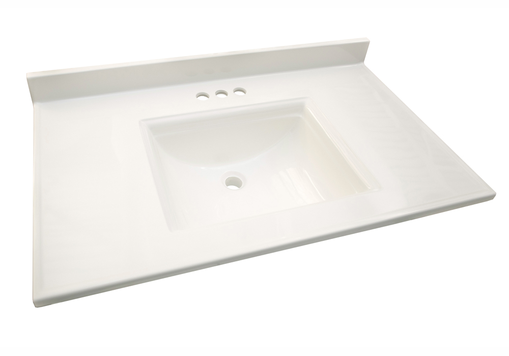 Design House 557678 Camilla Double 15.5-inch Vanity Top with 4-Inch Backsplash, 61-inches by 22-inches, Solid White