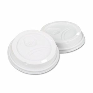 Dome Drink-Thru Lids,10-16 oz Perfectouch;12-20 oz WiseSize Cup, White, 50/Pack