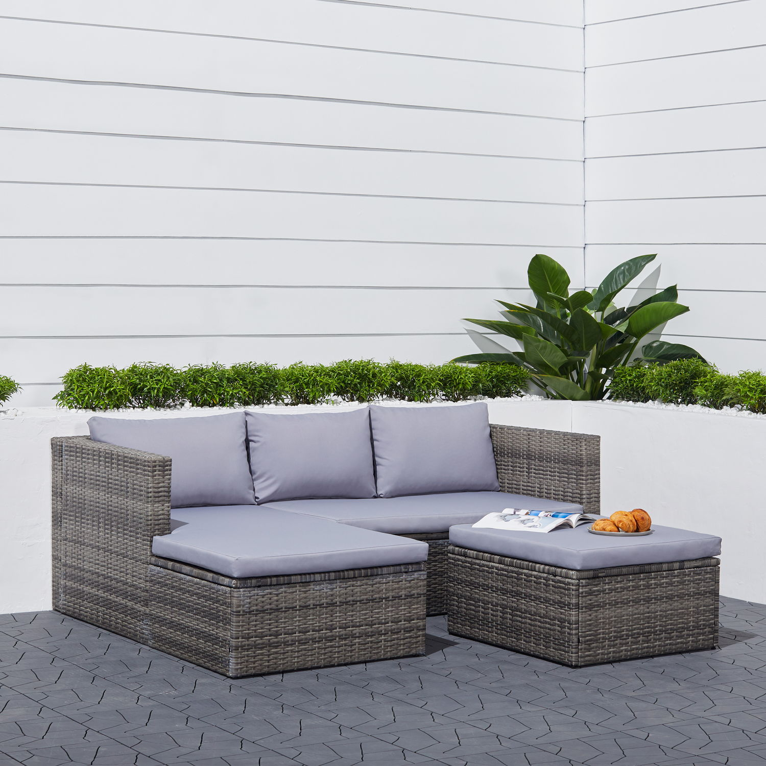 Daytona 3-piece Vintage Outdoor Cushioned Wicker Corner Sofa in Light Grey with Footstool
