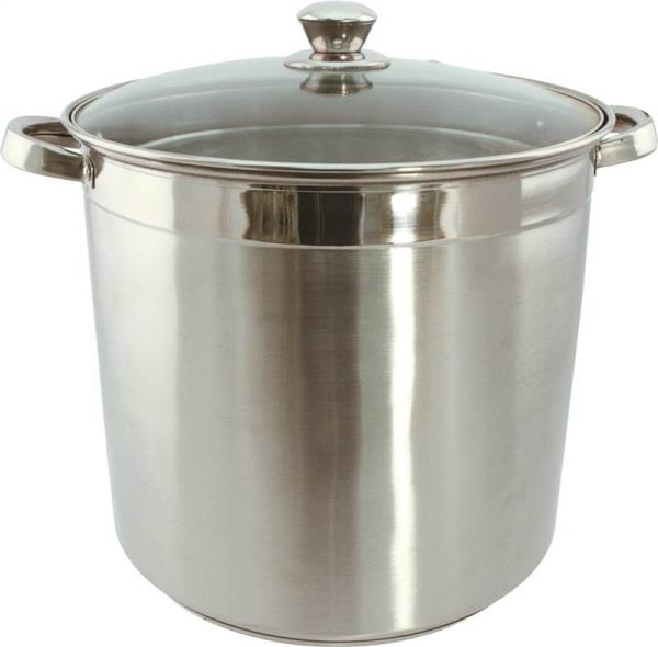 Dura Kleen 3012 Heavy Duty Stock Pot With Glass Lid, 12 qt Capacity, 12 in L x 22 in W x 11 in H, Stainless Steel