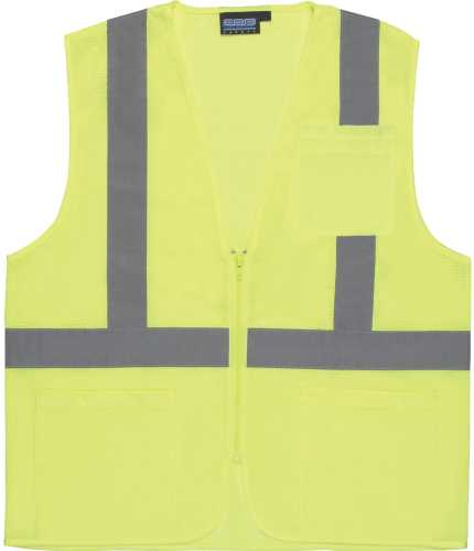 S362 CLASS 2 ECONOMY MESH ZIPPERED SAFETY VEST, LIME LARGE