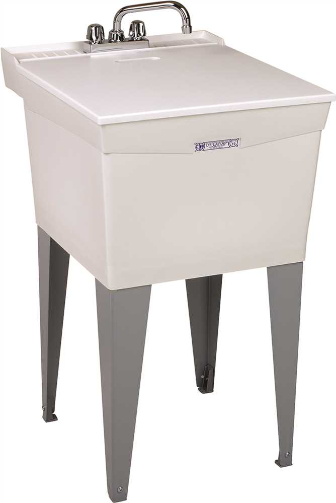 UTILATUB® 18-GALLON FLOOR-MOUNT COMBO LAUNDRY/UTILITY TUB, 34 X 20 X 24 IN., WHITE