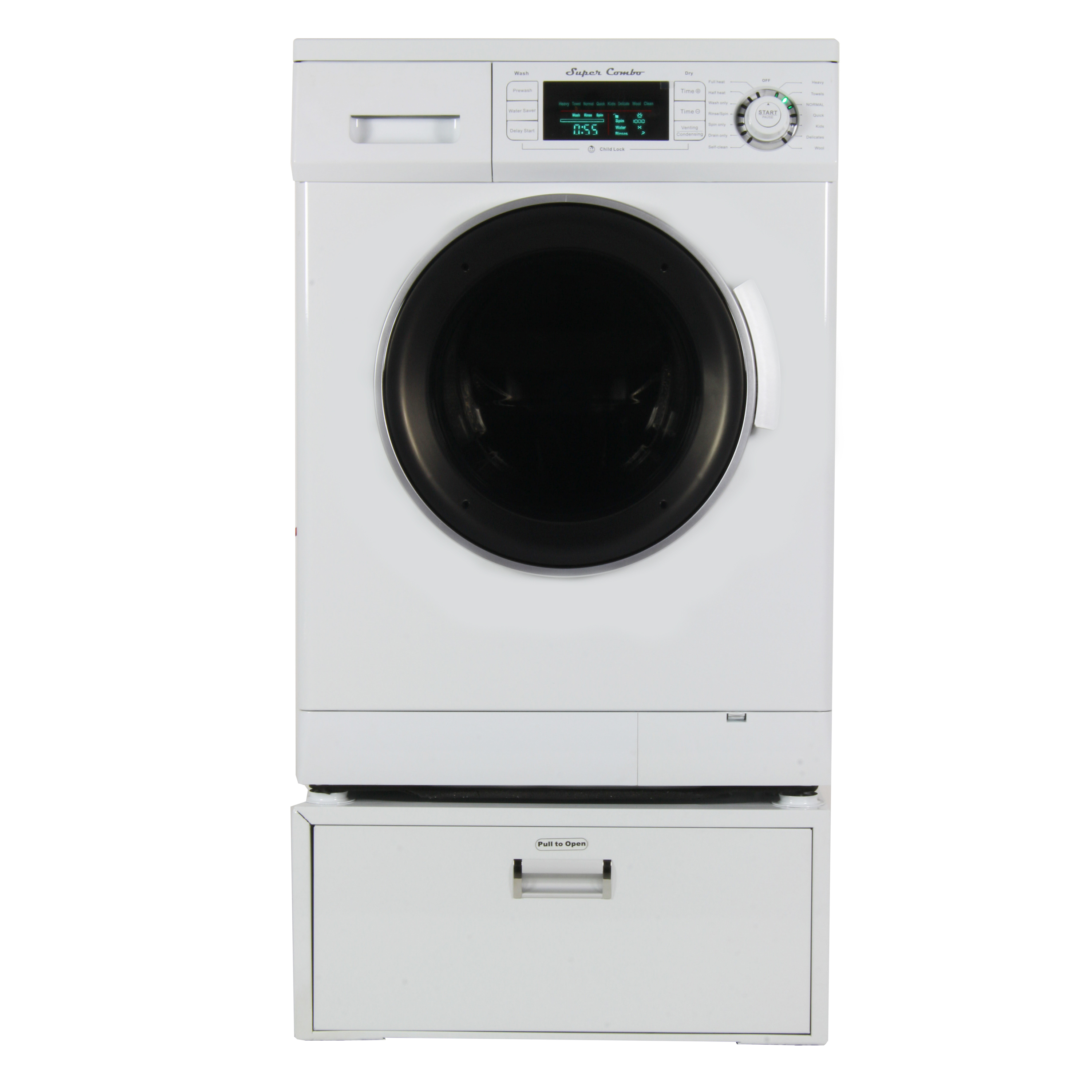 13  lbs All in one Combo Washer/Dryer with Pedestal, White