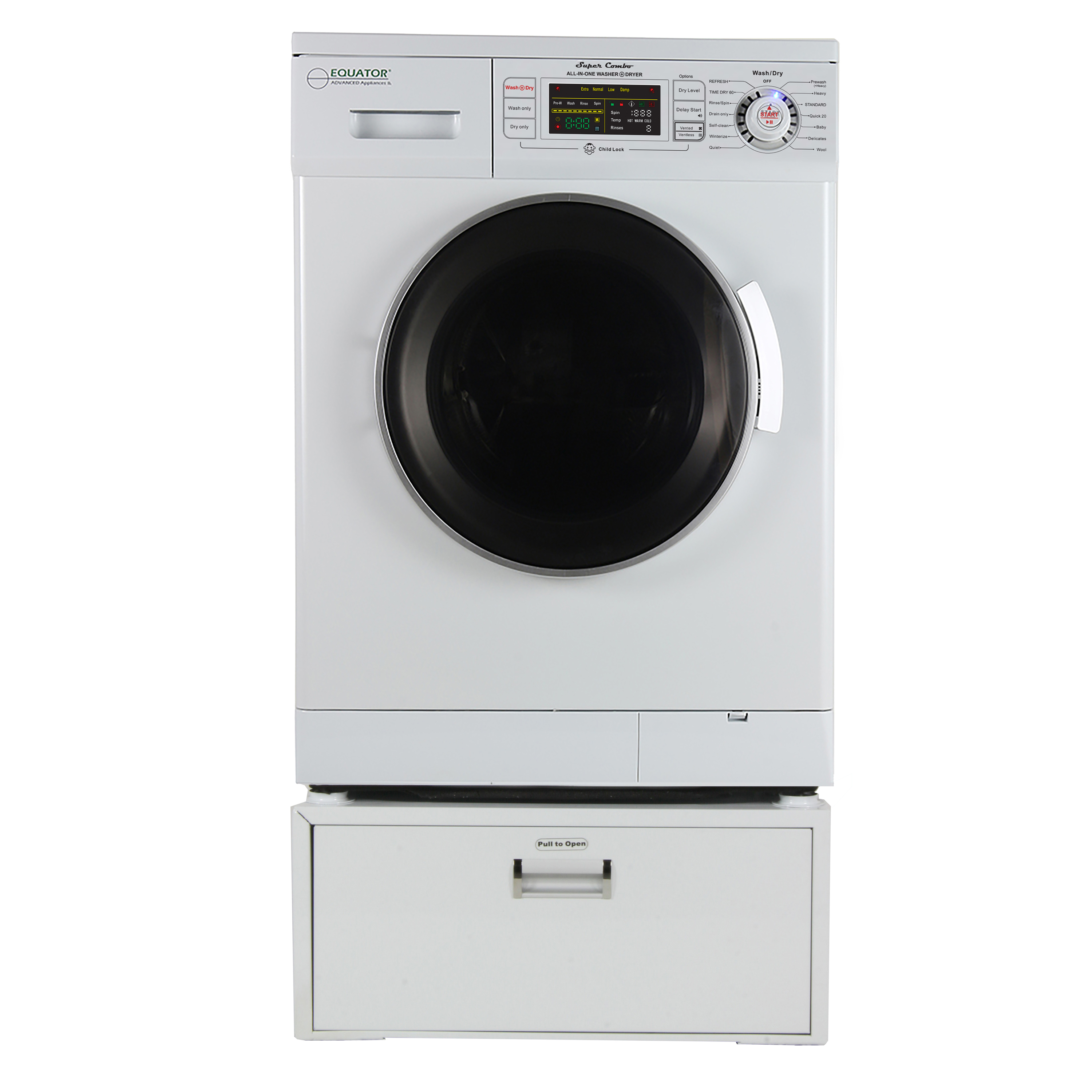 Equator EZ 4400 N White All-in-one New Compact Combo Washer Dryer with Pedestal Storage Drawer