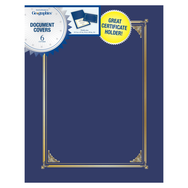 Certificate/Document Cover, 12 1/2 x 9 3/4, Navy Blue, 6/Pack