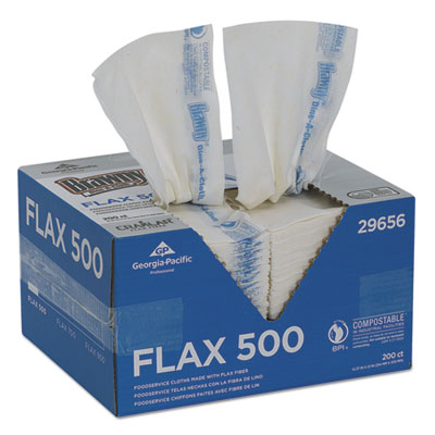 Dine-A-Cloth FLAX Foodservice Wipers, 12.37 x 21, White, 200/Box