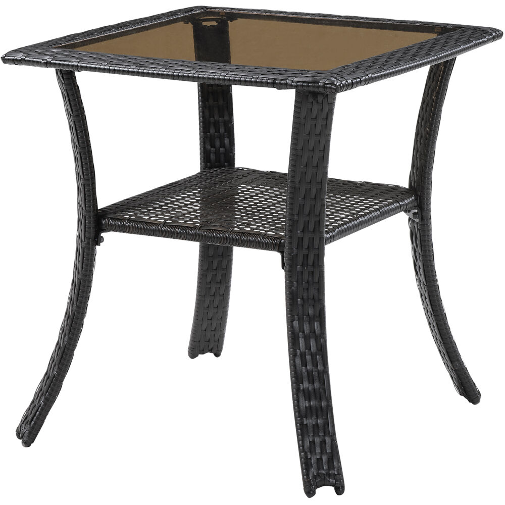 Square Glass Top Woven Bistro Table