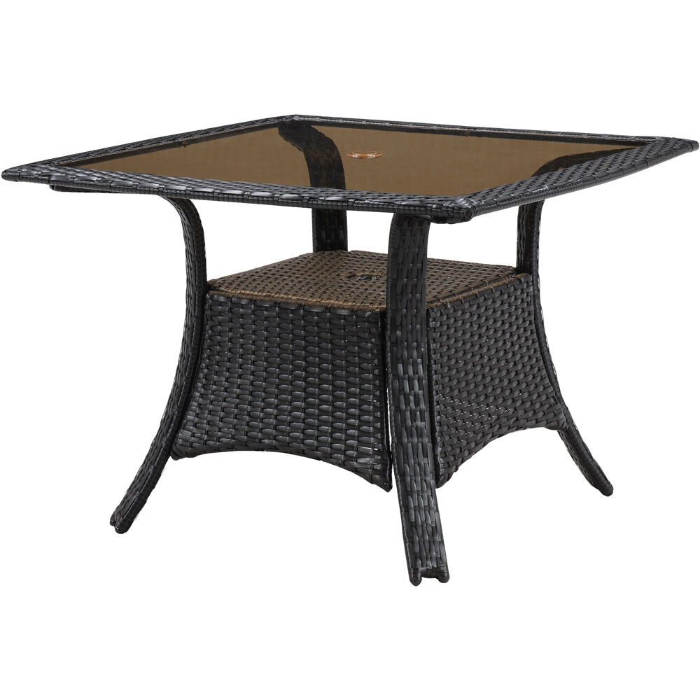 Square Glass Top Woven Dining Table