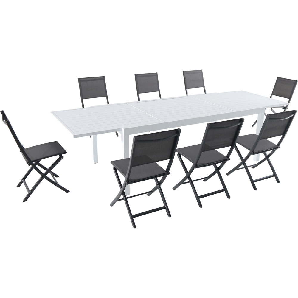 Del Mar9pc: 8 Aluminum Sling Folding Chairs, Aluminum Extension Table