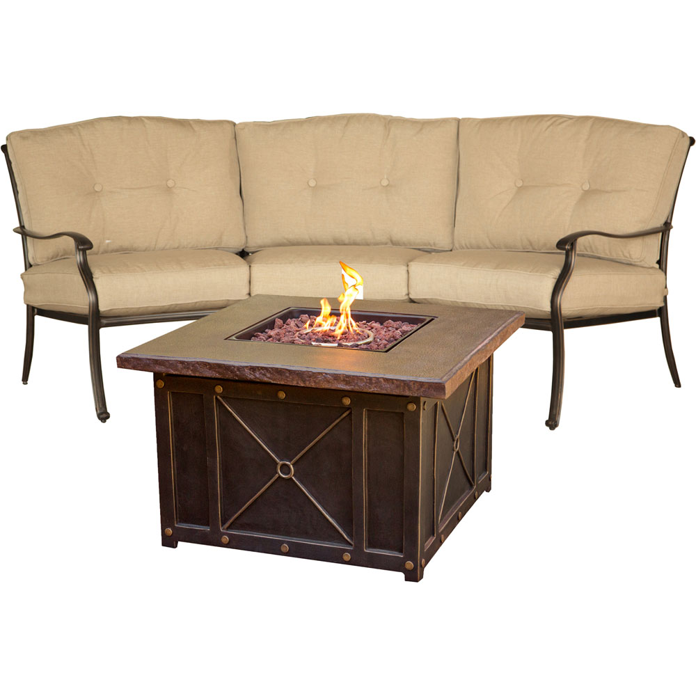 Traditions2pc Fire Pit: Durastone Fire Pit, Crescent Sofa