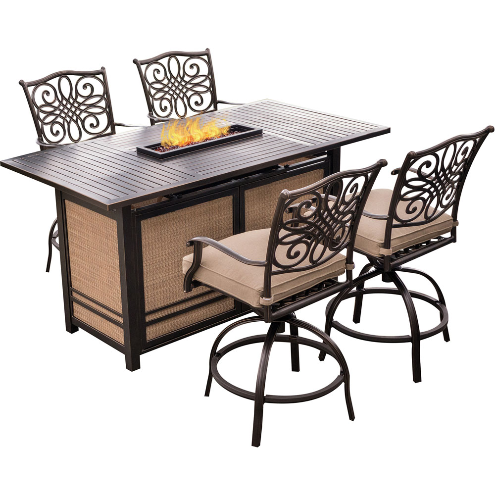 Traditions5pc Fire Pit High Dining: 4 Counter Swvl Rkrs, 1 Fire Pit Table