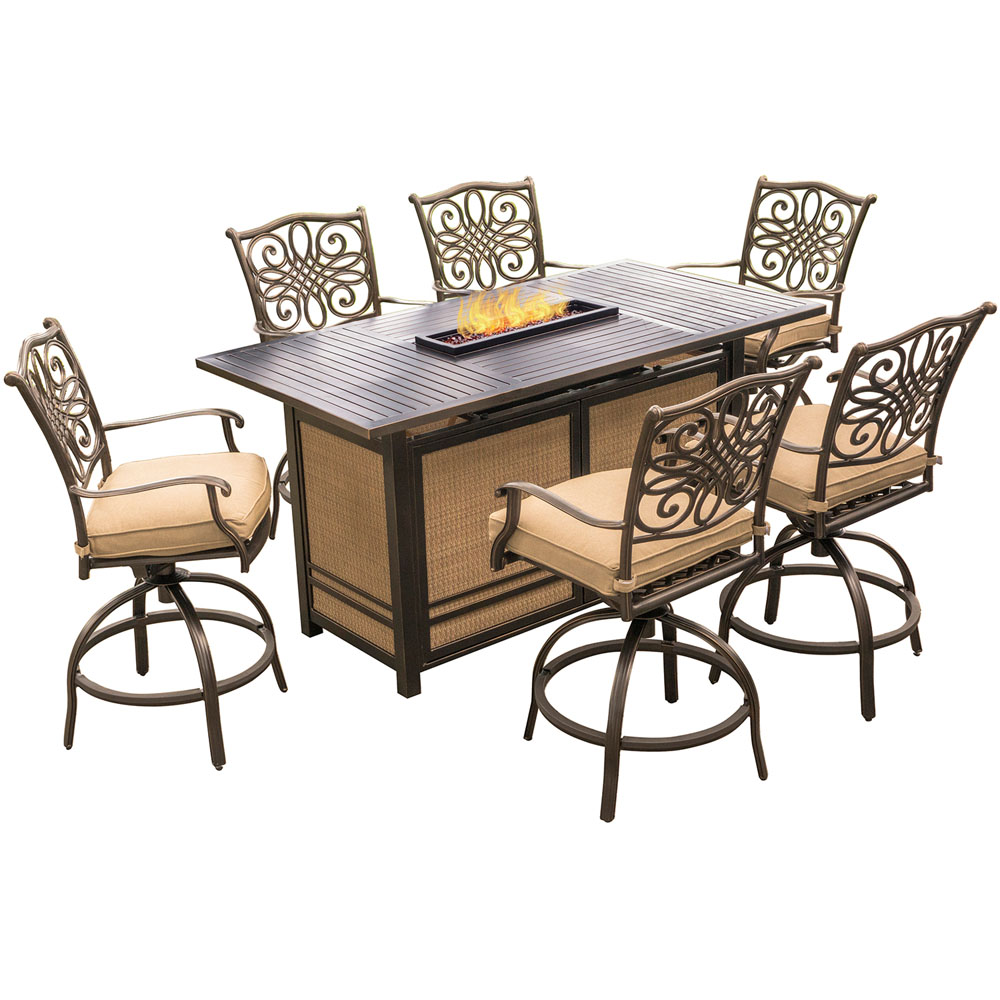 Traditions7pc Fire Pit High Dining: 6 Swvl Cntr Chrs, Fire Pit Dining Tbl