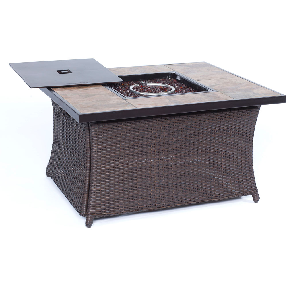 Hanover Woven Coffee Table Fire Pit with Porcelain Tile Top and Lid
