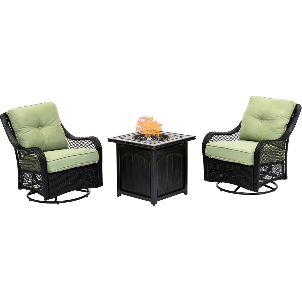 "Orleans3pc: 2 Swivel Gliders and 26"" Square Fire Pit"