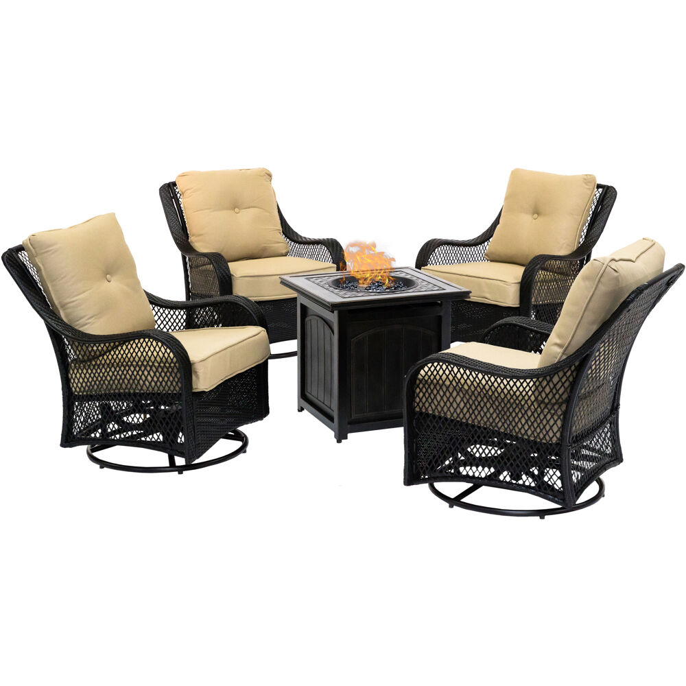 "Orleans5pc: 4 Swivel Gliders and 26"" Square Fire Pit"