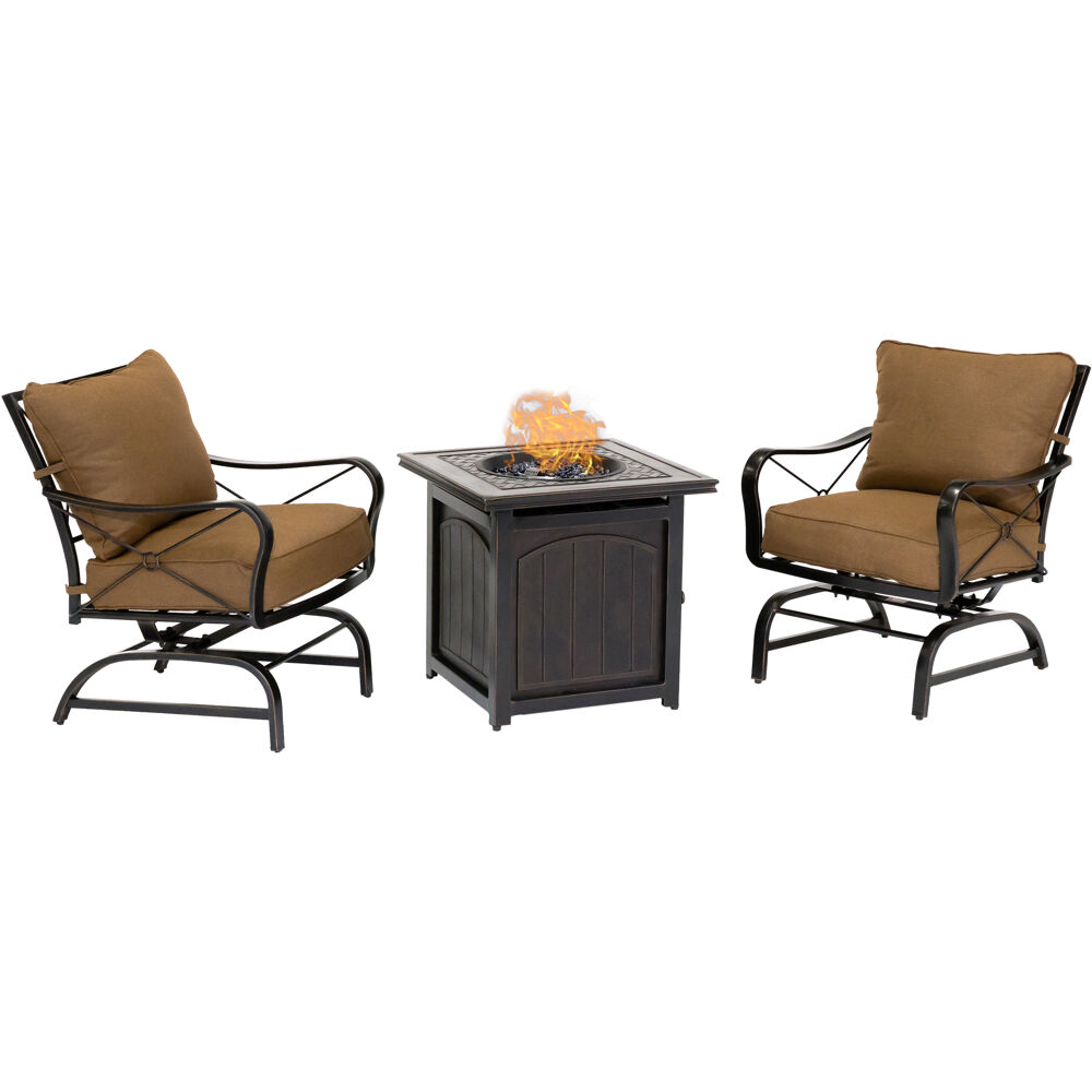 "SummerNight3pc: 2 Steel Cush Rockers and 26"" Square Fire Pit"