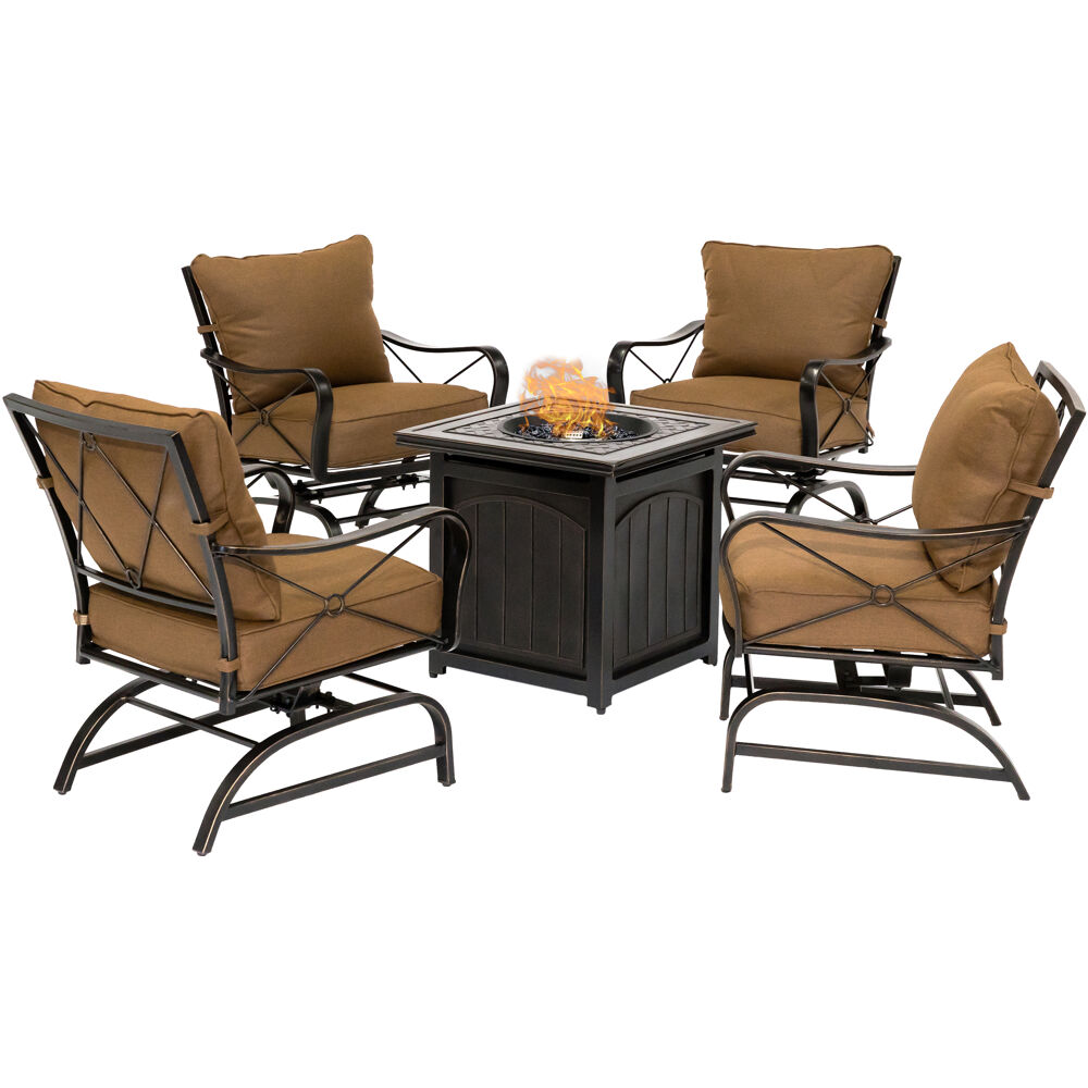 "SummerNight5pc: 4 Steel Cush Rockers and 26"" Square Fire Pit"