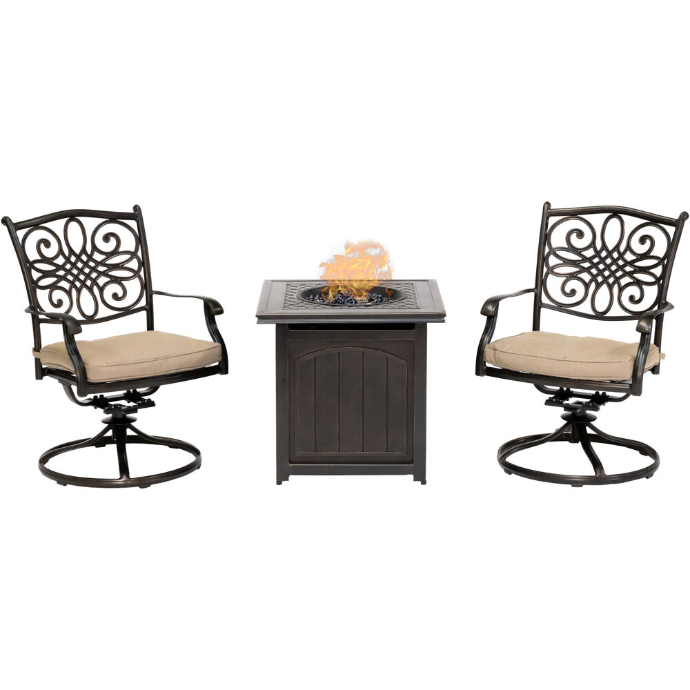 "Traditions3pc: 2 Swivel Rockers and 26"" Square Fire Pit"