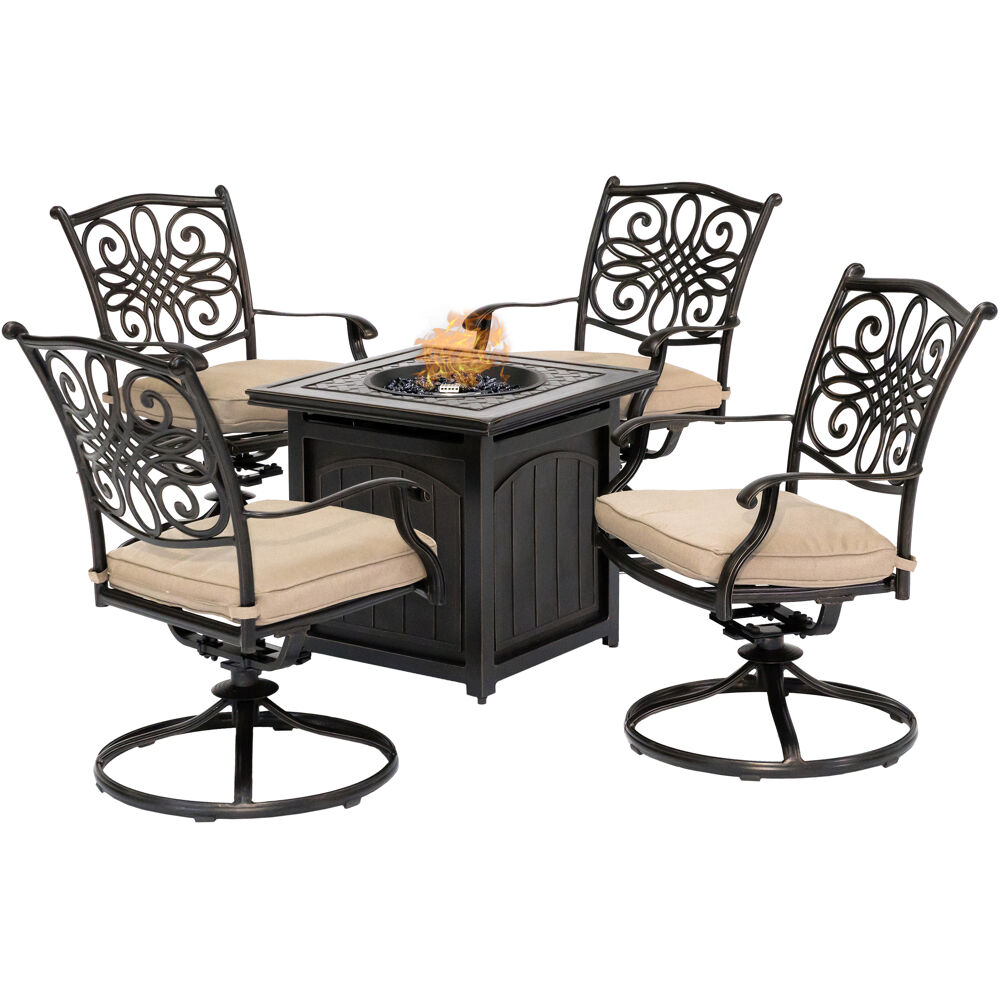 "Traditions5pc: 4 Swivel Rockers and 26"" Square Fire Pit"