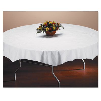 "Tissue/Poly Tablecovers, 82"" Diameter, White, 25/Carton"
