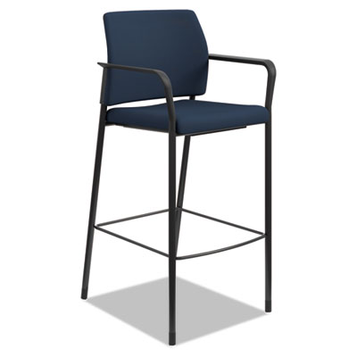 Accommodate Series Caf� Stool, Supports up to 300 lbs., Navy Seat/Navy Back, Black Base