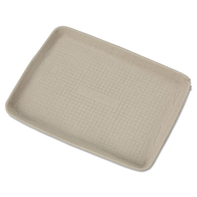 StrongHolder Molded Fiber Food Trays, 9 x 12 x 1, Beige, Rectangular, 250/Carton