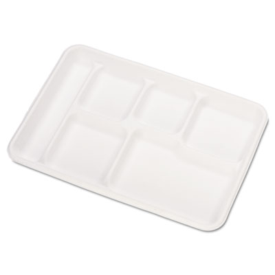 Heavy-Weight Molded Fiber Cafeteria Trays, 6-Comp, 8 1/2 x 12 1/2, 500/Carton