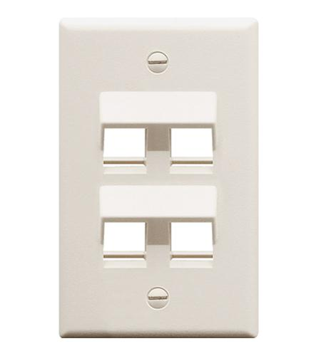 FACEPLATE- ANGLED- 1-GANG- 4-PORT- WHITE