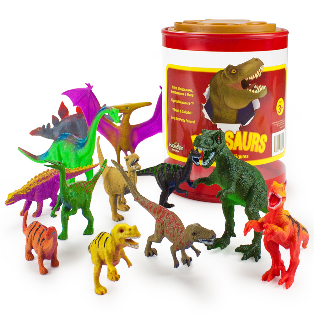 Set of 12 Large 7in Dinosaur Assortment with Storage Drum