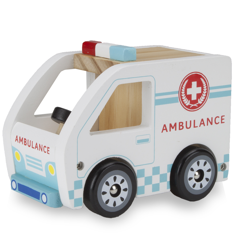 Wooden Wheels Natural Beech Wood Ambulance