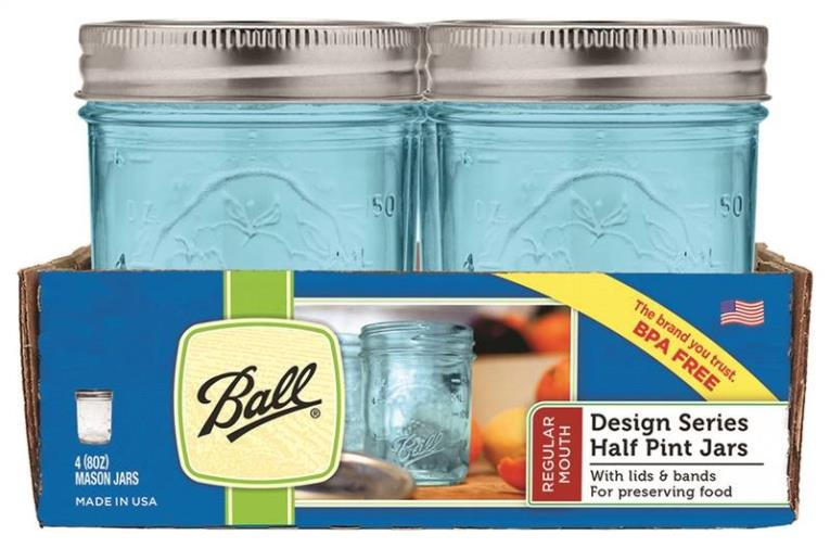 Ball 1440069022 Regular Mouth Mason Jar With Lids and Bands, 8 oz, 2-3/8 in W x 4 in H, Glass, Blue